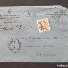 Sellos: CERTIFICADO HERMANDAD SINDICAL DE LABRADORES Y GANADEROS- SOTRESGUDO (BURGOS) - MATASELLO SOTRESGUDO. Lote 206892756