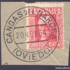Sellos: FRAGMENTO-SELLO PABLO IGLESIAS. MATASELLOS-FECHADOR. OVIEDO. CANGAS DEL NARCEA. 20/11/1934. Lote 208983488