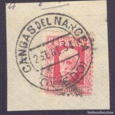 Sellos: FRAGMENTO-SELLO PABLO IGLESIAS. MATASELLOS-FECHADOR. OVIEDO. CANGAS DEL NARCEA. 23/01/1934. Lote 208983515