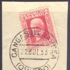 Sellos: FRAGMENTO-SELLO PABLO IGLESIAS. MATASELLOS-FECHADOR. OVIEDO. CANGAS DEL NARCEA. 22/07/1933. Lote 208983535