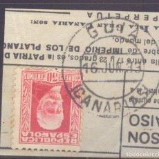 Timbres: FRAGMENTO-SELLO PABLO IGLESIAS. MATASELLOS-FECHADOR. CANARIAS. GUÍA. 16/06/1933. Lote 208983550