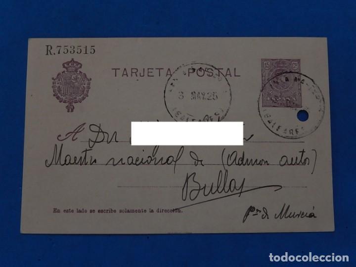 TARJETA ENTERO POSTAL. BALEARES A BULLAS (MURCIA). 1925. (Sellos - Historia Postal - Sello Español - Sobres Circulados)