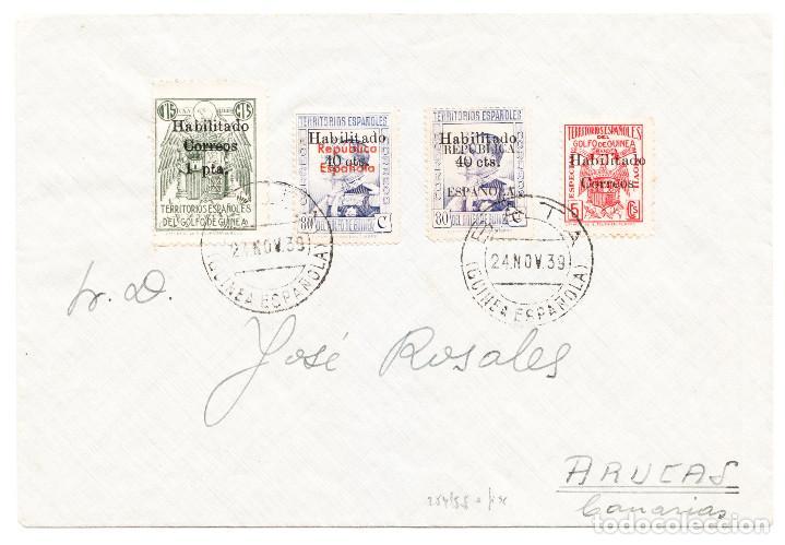 GUINEA ESPAÑOLA 24 NOVIEMBRE 1939 DE BATA A ARUCAS CANARIAS CON SELLOS HABILITADOS Y LOCALES (Sellos - Historia Postal - Sello Español - Sobres Circulados)