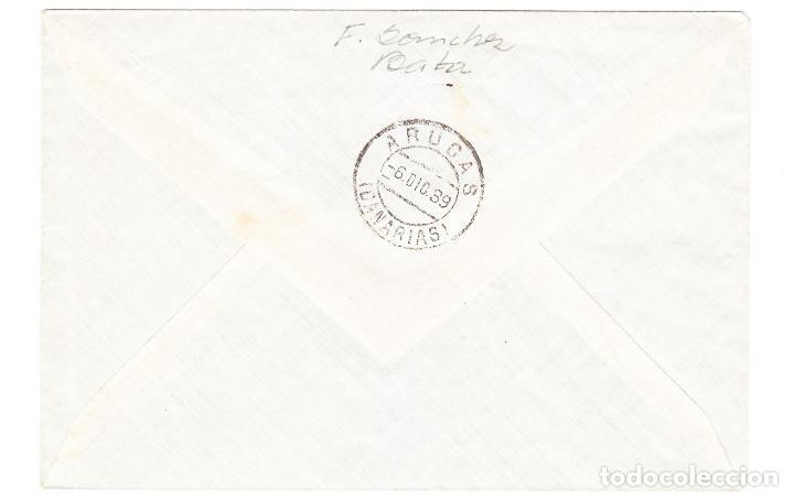 Sellos: GUINEA ESPAÑOLA 24 NOVIEMBRE 1939 DE BATA A ARUCAS CANARIAS CON SELLOS HABILITADOS Y LOCALES - Foto 2 - 209608336