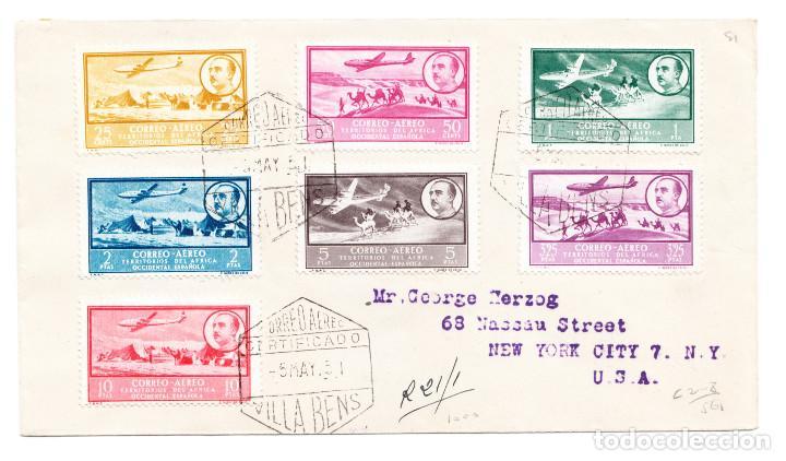 5 MAYO DEL 51 VILLA BENS SERIE CORREO AÉREO FRANCO Y PAISAJES A NEW YORK GEORGE HERZOG (Sellos - Historia Postal - Sello Español - Sobres Circulados)