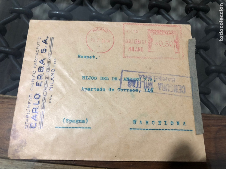 SOBRE CON MARCA CENSURA DE BARCELONA Y CIERRE DE CENSURA. AÑO 1939 (Sellos - Historia Postal - Sello Español - Sobres Circulados)