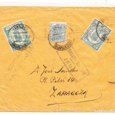 Sellos: 1937 SOBRE IRÚN A ZARAGOZA SELLOS FISCALES CENSURA MILITAR. Lote 210648647