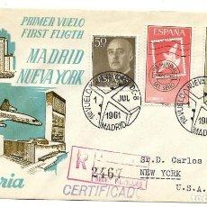 Sellos: 1961. CARTA CERTIFICADO. PRIMERO VUELO MADRID - NUEVA YORK. CORREO AÉREO. Lote 210804027