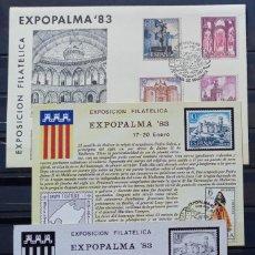 Sellos: EXPOPALMA - 1ª EXP. FILAT. EXPOPALMA 83 - CASTILLO BELLVER - SOBRE - TARJETA Y PRUEBA EN NEGRO. Lote 212854657