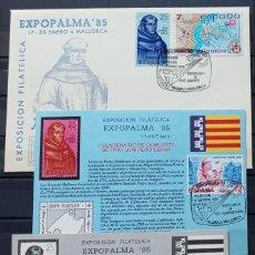 Sellos: EXPOPALMA - 3ª EXP. FILAT. EXPOPALMA 85 - FRAY JUNIPERO SERRA - SOBRE - TARJETA Y PRUEBA EN NEGRO. Lote 212855835