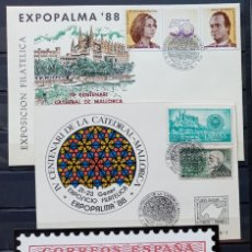 Sellos: EXPOPALMA - EXP. FILAT. EXPOPALMA 88 - CATEDRAL VIDRIERA - SOBRE - TARJETA Y PRUEBA EN NEGRO. Lote 212866302