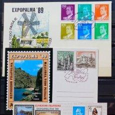 Sellos: EXP. FILAT. EXPOPALMA 89 - TURISMO PAISAJES DE MALLORCA - SOBRE - TARJETA Y PRUEBA. Lote 212866523