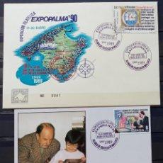 Sellos: EXP. FILAT. EXPOPALMA 90 - 40 AÑOS DE LA FILATELIA EN MALLORCA - SOBRE Y TARJETA. Lote 212867000
