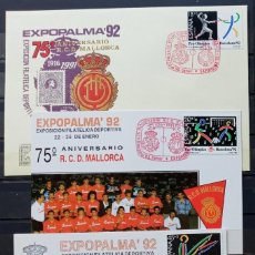Sellos: EXP. FILAT. EXPOPALMA 92 - 75 ANIV. DEL R.C.D.MALLORCA - SOBRE Y PRUEBA EN NEGRO. Lote 212867360