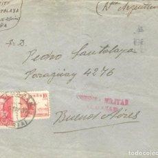 Sellos: 1939. ALMAZÁN A BUENOS AIRES. CENSURA ALMAZÁN. SELLOS 818 Y 857. RODILLO PUBLICITARIO BUENOS AIRES. Lote 213103743