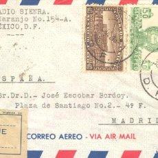 Sellos: 1949. SERVICIO AÉREO. MÉXICO A MADRID. SELLOS MÉXICO Y 1044 ESPAÑOL TASA LISTA. Lote 213104442