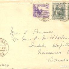 Sellos: 1949. AKURENAM (GUINEA) A CANADÁ. SELLOS ESPAÑA 1062 Y GUINEA 266. TRÁNSITO EVINAYONG BATA. Lote 213105286