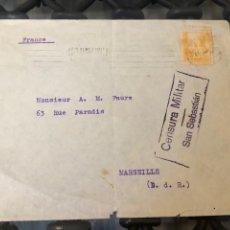 Sellos: CARTA MARCA CENSURA SAN SEBASTIÁN GUERRA CIVIL 1937 EDIFIL 826. Lote 213191676