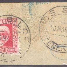 Sellos: FRAGMENTO-SELLO PABLO IGLESIAS. MATASELLOS-FECHADOR. CANARIAS. TENERIFE. LOS SILOS. 16/03/1934. Lote 213826098