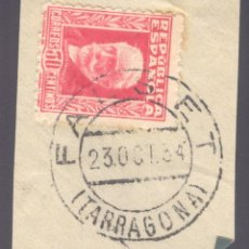 Sellos: FRAGMENTO-SELLO PABLO IGLESIAS. MATASELLOS-FECHADOR. TARRAGONA. FALSET. 23/10/1934. Lote 213826353