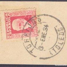 Sellos: FRAGMENTO-SELLO PABLO IGLESIAS. MATASELLOS-FECHADOR. TOLEDO. TORRIJOS. 03/01/1934. Lote 213826416