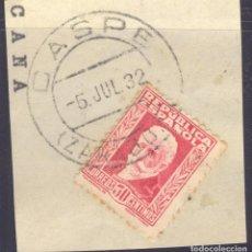 Sellos: FRAGMENTO-SELLO PABLO IGLESIAS. MATASELLOS-FECHADOR. ZARAGOZA. CASPE. 05/07/1932. Lote 213826530