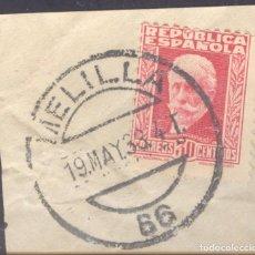 Sellos: FRAGMENTO-SELLO PABLO IGLESIAS. MATASELLOS-FECHADOR. MELILLA. 19/05/1933. Lote 213826567