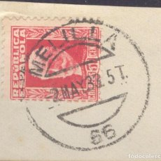 Sellos: FRAGMENTO-SELLO PABLO IGLESIAS. MATASELLOS-FECHADOR. MELILLA. 02/05/1933. Lote 213826571
