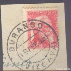 Sellos: FRAGMENTO-SELLO AZCÁRATE. MATASELLOS-FECHADOR. VIZCAYA. DURANGO. 19/02/1935. Lote 213826635