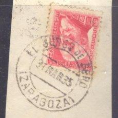 Sellos: FRAGMENTO-SELLO AZCÁRATE. MATASELLOS-FECHADOR. ZARAGOZA. EL BURGO DE EBRO. 31/03/1935. Lote 213826657