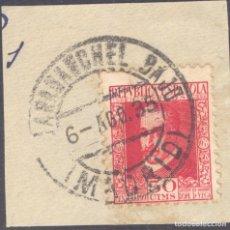 Francobolli: FRAGMENTO-SELLO CENTENARIO LOPE DE VEGA. SELLOS-FECHADOR. MADRID. CARABANCHEL BAJO. 06/08/1935. Lote 213826708
