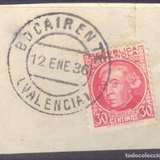 Sellos: FRAGMENTO-SELLO JOVELLANOS. SELLOS-FECHADOR. VALENCIA. BOCAIRENTE. 12/01/1936. Lote 213826748