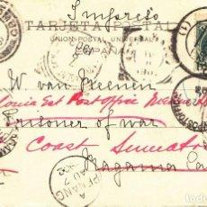 Sellos: 1902. BOLSA DE MADRID, EL PARQUET: BONITA Y RARA TARJETA POSTAL DE MADRID A SUMATRA.. Lote 214741653