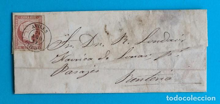 FILATELIA H. POSTAL ASTURIAS OVIEDO CARTA FECHADOR TIPO II 1859 AVILES 4 CUARTOS EDIFIL 48 VER (Sellos - Historia Postal - Sello Español - Sobres Circulados)