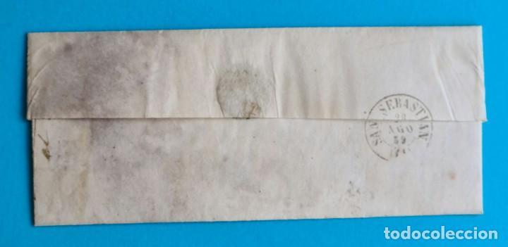 Sellos: FILATELIA H. POSTAL ASTURIAS OVIEDO CARTA FECHADOR TIPO II 1859 AVILES 4 CUARTOS EDIFIL 48 VER - Foto 2 - 216987948
