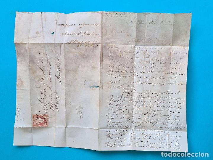 Sellos: FILATELIA H. POSTAL ASTURIAS OVIEDO CARTA FECHADOR TIPO II 1859 AVILES 4 CUARTOS EDIFIL 48 VER - Foto 3 - 216987948