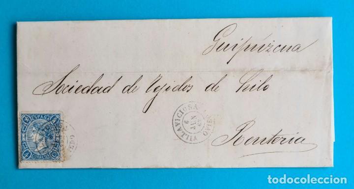 FILATELIA H. POSTAL ASTURIAS OVIEDO CARTA FECHADOR TIPO II 1865 VILLAVICIOSA 4 CUARTOS EDIFIL 75 VER (Sellos - Historia Postal - Sello Español - Sobres Circulados)