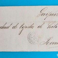 Sellos: FILATELIA H. POSTAL ASTURIAS OVIEDO CARTA FECHADOR TIPO II 1865 VILLAVICIOSA 4 CUARTOS EDIFIL 75 VER. Lote 216988192
