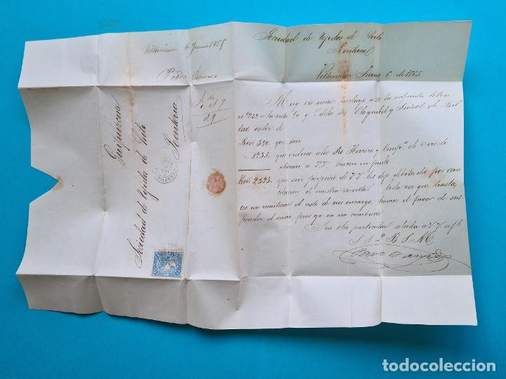 Sellos: FILATELIA H. POSTAL ASTURIAS OVIEDO CARTA FECHADOR TIPO II 1865 VILLAVICIOSA 4 CUARTOS EDIFIL 75 VER - Foto 3 - 216988192