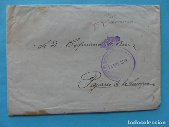 SOBRE CARTA 1919 FRANQUICIA MINISTERIO DE INSTRUCCION PUBLICA Y BELLAS ARTES - RARA (Sellos - Historia Postal - Sello Español - Sobres Circulados)