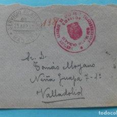 Sellos: SOBRE CARTA FRANQUICIA + MATASELLO DEL SERVICIO FILATELICO DE MADRID 1950 DORSO CARTERIA VALLADOLID. Lote 217073755