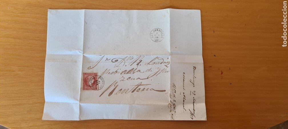 Sellos: FILATELIA CARTA COMPLETA FECHADOR TIPO II 4 CUARTOS ED. 48 TORRELAVEGA SANTANDER 1859 MES INVERTIDO - Foto 2 - 217142730