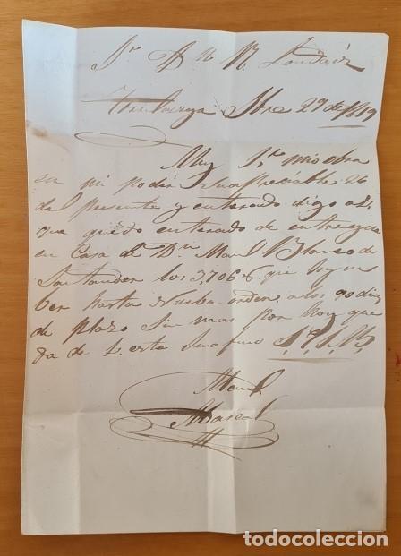 Sellos: FILATELIA CARTA COMPLETA FECHADOR TIPO II 4 CUARTOS ED. 48 TORRELAVEGA SANTANDER 1859 MES INVERTIDO - Foto 3 - 217142730
