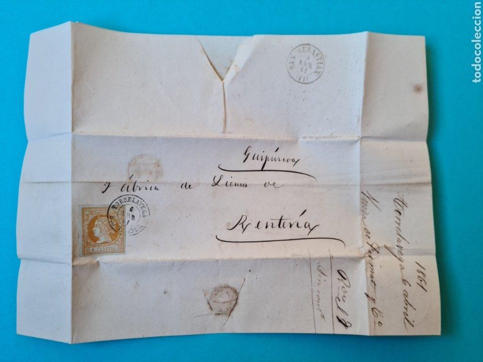 Sellos: FILATELIA CARTA COMPLETA FECHADOR TIPO II 4 CUARTOS ED. 52 TORRELAVEGA SANTANDER 1861 VER FOTOS - Foto 2 - 217144511