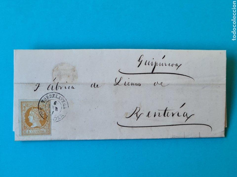 FILATELIA CARTA COMPLETA FECHADOR TIPO II 4 CUARTOS ED. 52 TORRELAVEGA SANTANDER 1861 VER FOTOS (Sellos - Historia Postal - Sello Español - Sobres Circulados)
