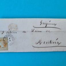 Sellos: FILATELIA CARTA COMPLETA FECHADOR TIPO II 4 CUARTOS ED. 52 TORRELAVEGA SANTANDER 1861 VER FOTOS. Lote 217144511