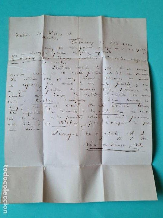 Sellos: FILATELIA CARTA COMPLETA FECHADOR TIPO II 4 CUARTOS ED 81 TORRELAVEGA SANTANDER 1866 VER FOTOS - Foto 4 - 217149667