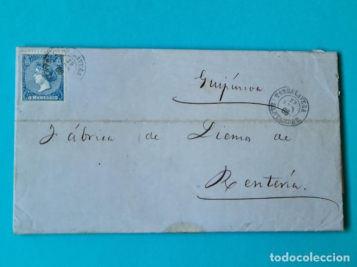 FILATELIA CARTA COMPLETA FECHADOR TIPO II 4 CUARTOS ED 81 TORRELAVEGA SANTANDER 1866 VER FOTOS (Sellos - Historia Postal - Sello Español - Sobres Circulados)