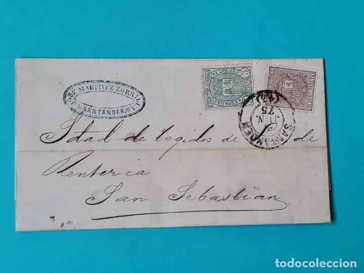 CARTA COMPLETA FECHADOR GRANDE SANTANDER 1875 EDIFIL 153 + 154 IMPUESTO DE GUERRA VER FOTOS (Sellos - Historia Postal - Sello Español - Sobres Circulados)
