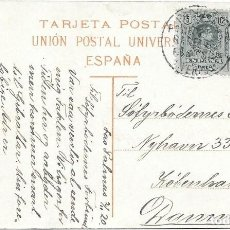 Sellos: PAQUEBOT LIVERPOOL. EDIFIL 268 PAR. POSTAL DE LAS PALMAS A DINAMARCA. 1920. Lote 217468192